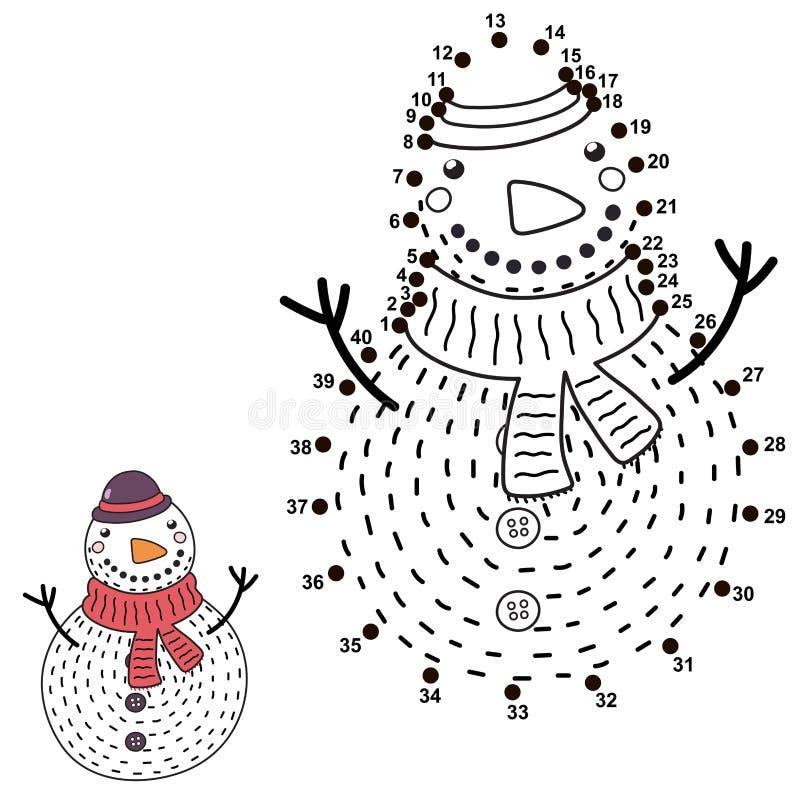 Colleghi i punti ed estragga un pupazzo di neve divertente illustrazione di stock
