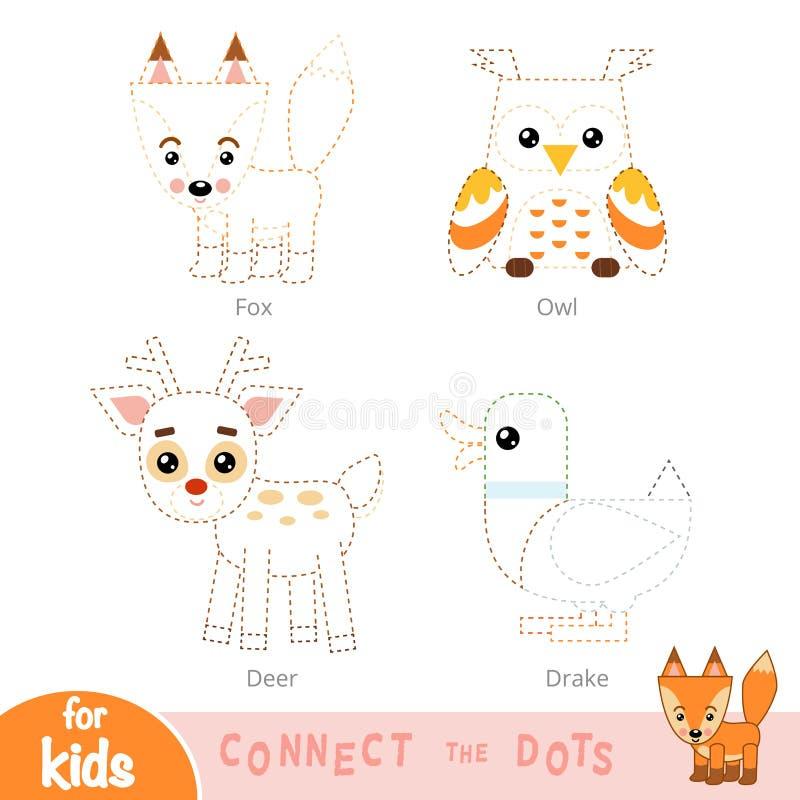 Colleghi i punti, gioco di istruzione per i bambini Animali della foresta messi illustrazione vettoriale