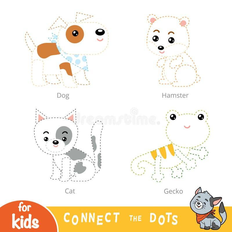 Colleghi i punti, gioco di istruzione per i bambini Insieme degli animali domestici illustrazione vettoriale