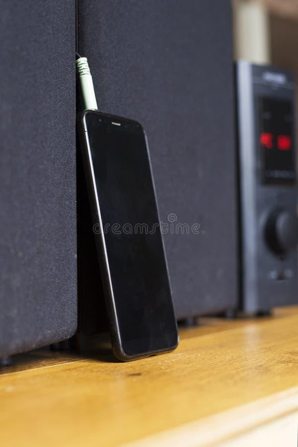 Colleghi il cavo agli altoparlanti del subwoofer audio uscita rossa fotografia stock
