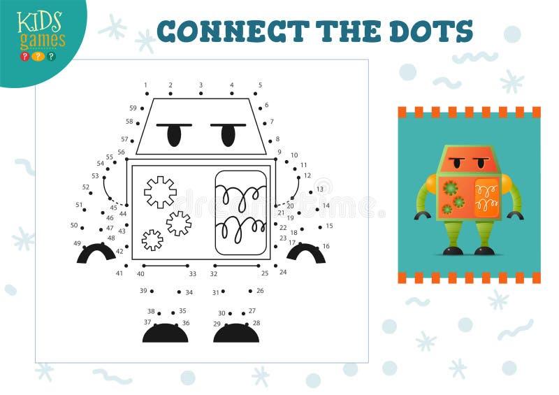 Colleghi l'illustrazione di vettore del gioco dei bambini dei punti Bambini in et? prescolare che disegnano attivit? royalty illustrazione gratis