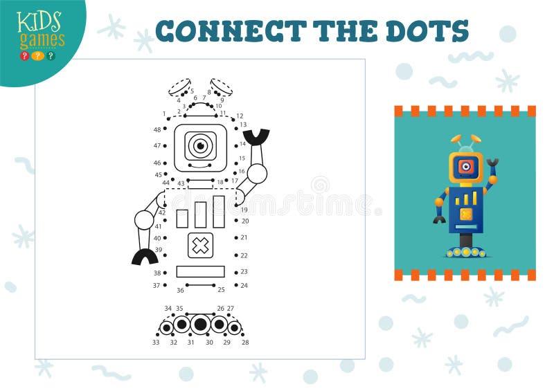 Colleghi l'illustrazione di vettore del gioco dei bambini dei punti Bambini in et? prescolare che disegnano attivit? illustrazione di stock