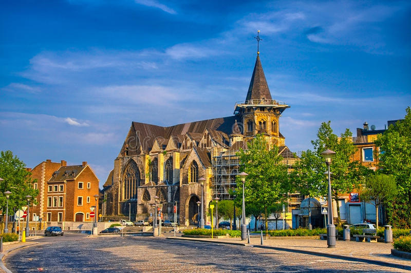 Collegiale Sainte-Croix catholic church in Liege, Belgium, Benel. Ux, HDR royalty free stock photography