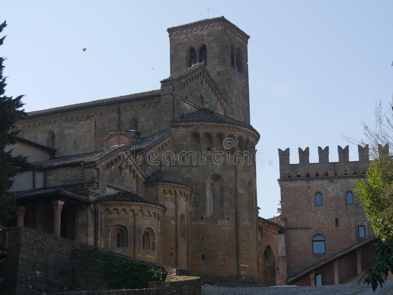 Collegiata church of St Mary in Castell`Arquato. It was rebuilt after a earthquake an it is charaterized by a romanesque `Paradise Portico` on the left side stock photo