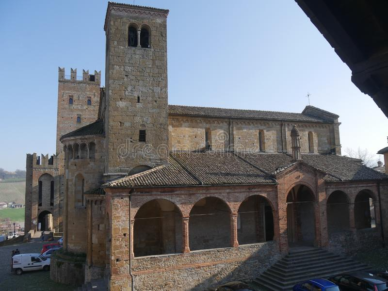 Collegiata church of St Mary in Castell`Arquato. It was rebuilt after a earthquake an it is charaterized by a romanesque `Paradise Portico` on the left side stock image