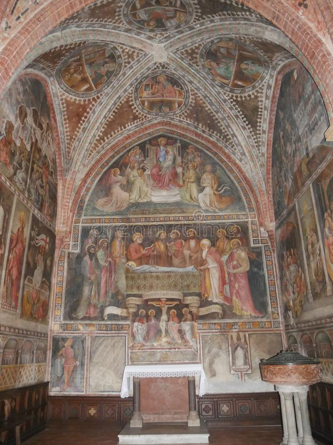 Collegiata church of St Mary in Castell`Arquato. royalty free stock photos