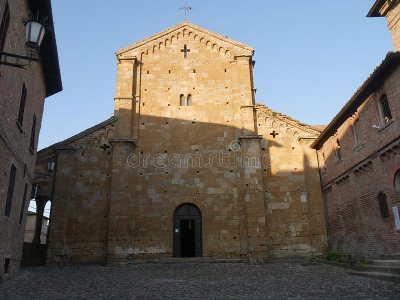 Collegiata church of St Mary in Castell`Arquato. royalty free stock image