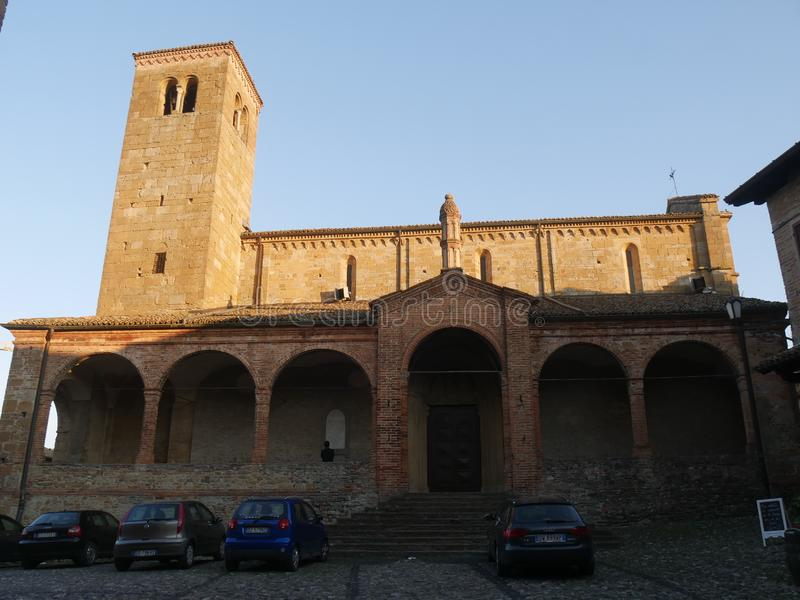 Collegiata church of St Mary in Castell`Arquato. royalty free stock images