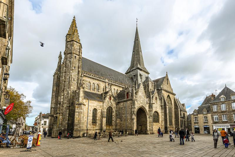 Collegiate Church Saint-Aubin in Guerande medieval town, Loire-Atlantique region in Western France stock photos