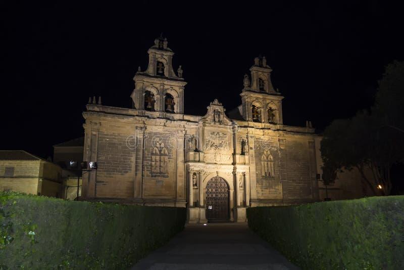 Collegiate Church of Santa Maria de los Reales Alcazares at nigh stock photo
