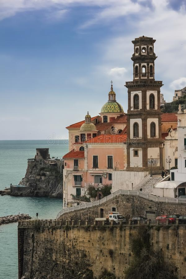 Collegiate Church of St. Mary Magdalene . Atrani. Campania. Italy. View of Atrani and Collegiate Church of St. Mary Magdalene. Campania. Salerno. Italy royalty free stock photography