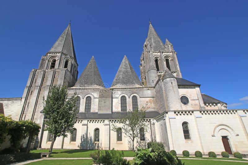 Saint Oars Church, Loches. Collegiate church of St Oars in Loches, France royalty free stock photography
