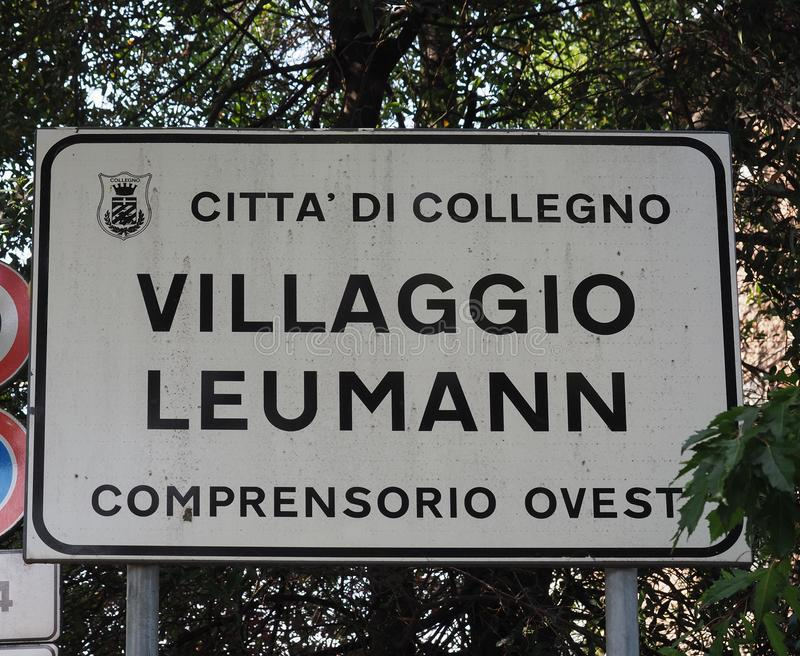 Collegno City sign. COLLEGNO, ITALY - CIRCA AUGUST 2019: Italian sign Citta di Collegno Villaggio Leumann Comprensorio Ovest meaning Collegno Town, Leumann stock image