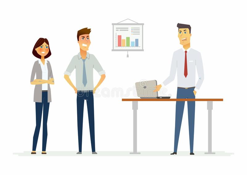 Collegues argue in the office - modern cartoon people characters illustration vector illustration
