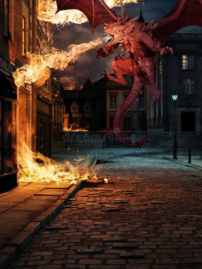 Collera del drago rosso illustrazione vettoriale