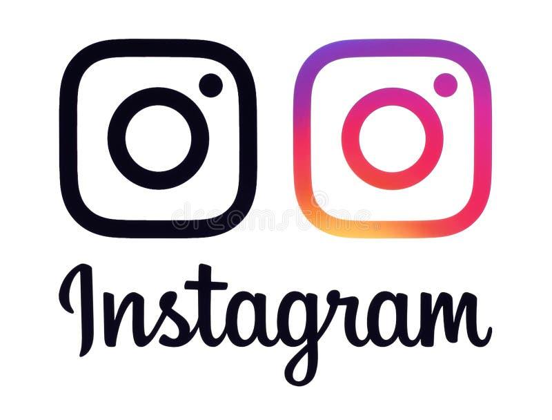 Colletion om Instagram logoer och symboler royaltyfri illustrationer