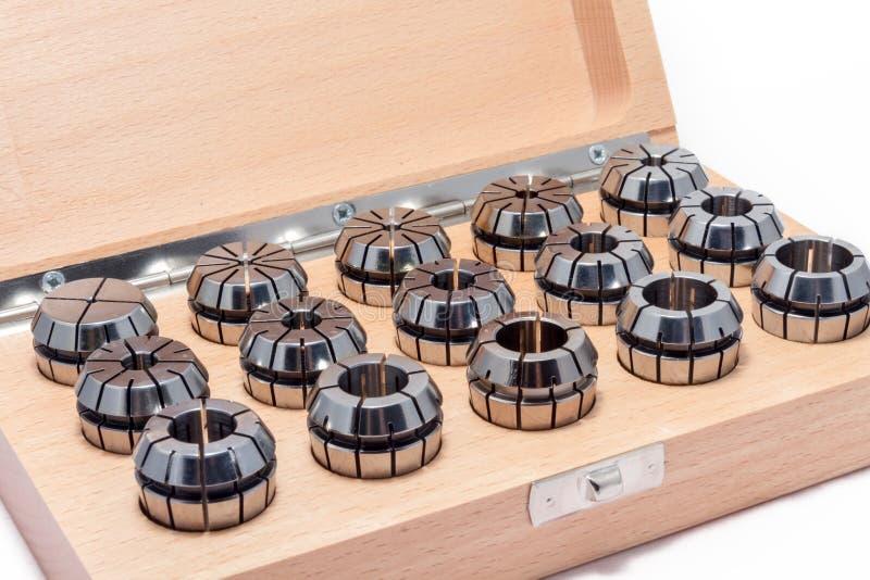 Collets dla instrumentów dla przemysłu ciężkiego w drewnianym pudełku zdjęcia stock