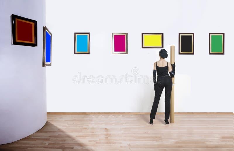 Collettore di arte in museo fotografia stock