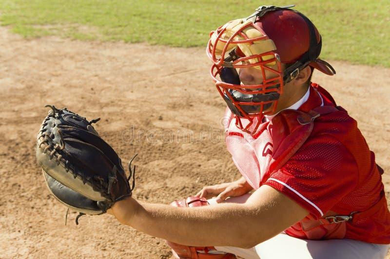 Collettore di baseball che si accovaccia sul campo immagine stock