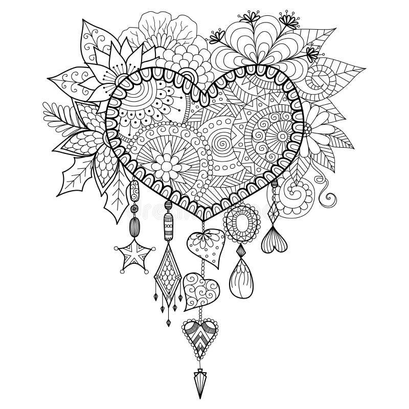 Collettore di sogno floreale di forma del cuore per il libro da colorare per l'adulto illustrazione di stock