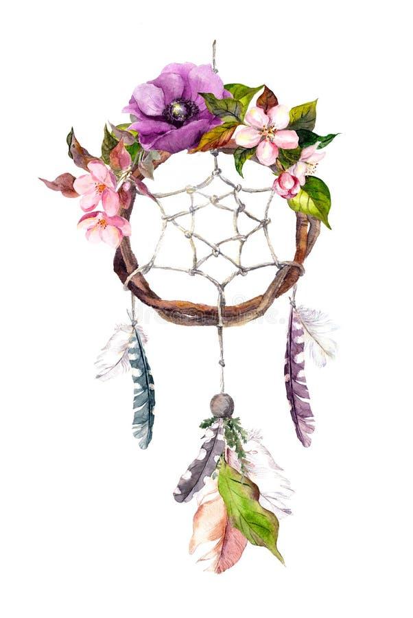 Collettore di sogno - piume, fiori Acquerello nello stile di boho illustrazione vettoriale