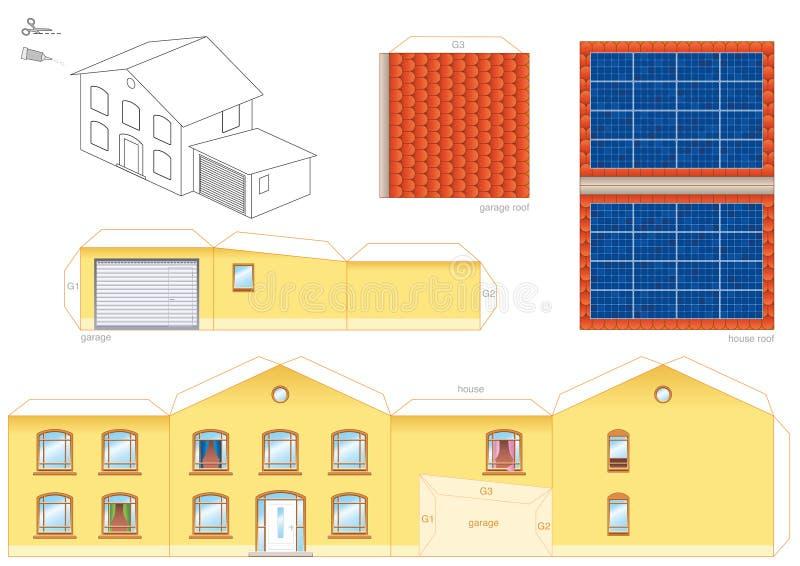 Collettore termico solare Papercraft della Camera illustrazione di stock