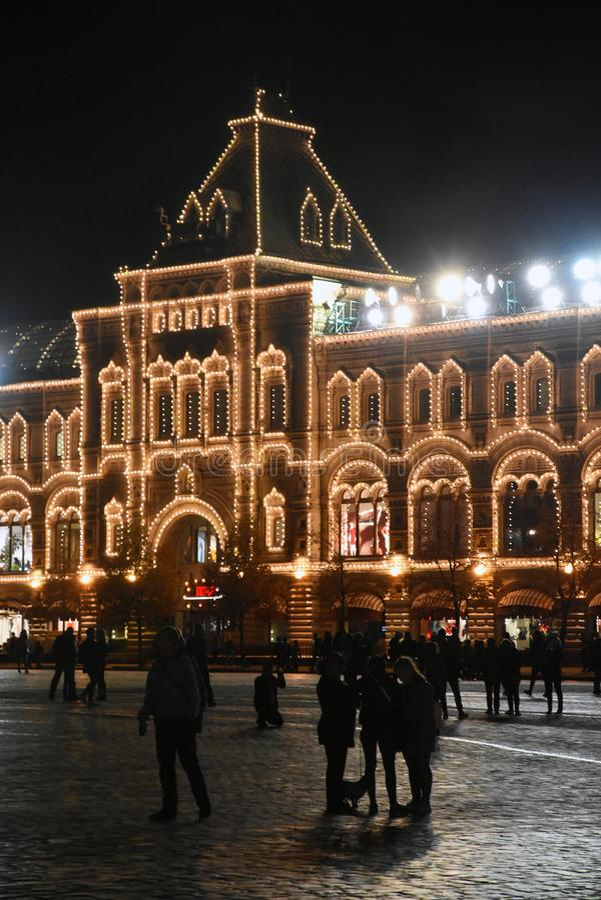 COLLEZ, centre commercial et bâtiment historique sur la place rouge à Moscou images libres de droits