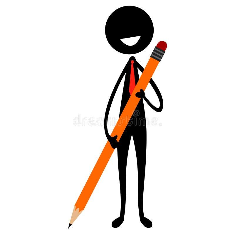 Collez la figure silhouette d'un homme tenant un grand crayon illustration de vecteur