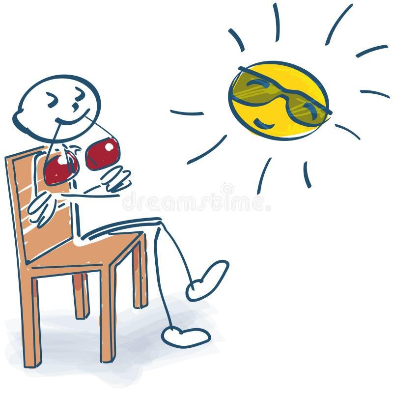 Collez le chiffre se reposant sur une chaise et appréciant le soleil illustration de vecteur