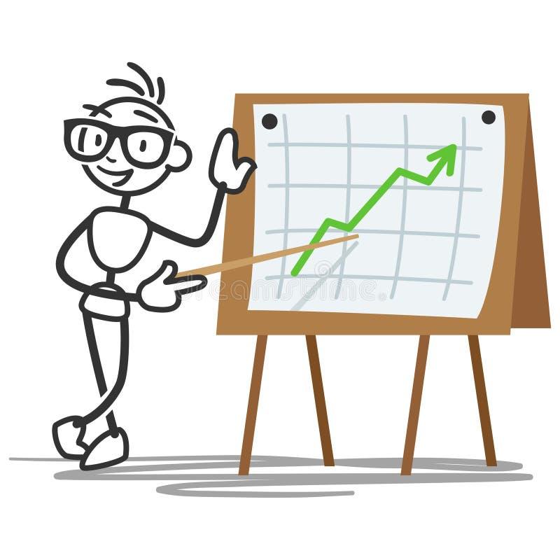 Collez le chiffre statistiques d'homme de bâton élevant le panneau d'affichage de graphique illustration libre de droits