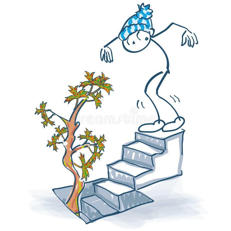 Collez le chiffre supports sur les escaliers de sous-sol et voyez un arbre d'automne se développer hors de la cave illustration stock