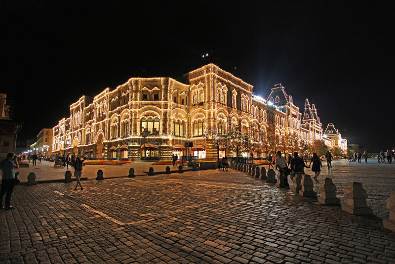 COLLEZ le magasin sur la place rouge, Moscou par nuit photo libre de droits