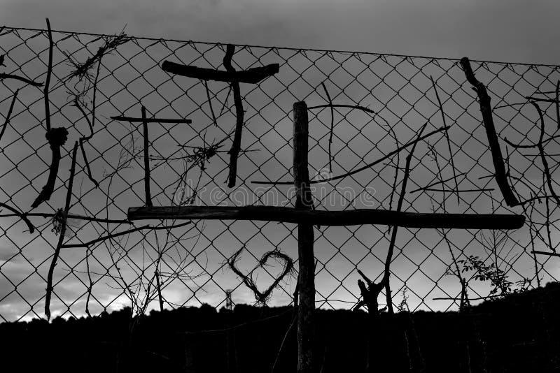 Collez les symboles croisés de pèlerins la manière de St James images libres de droits