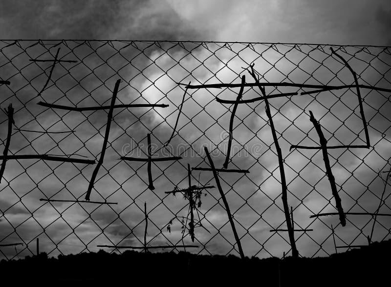 Collez les symboles croisés de pèlerins la manière de St James photographie stock libre de droits