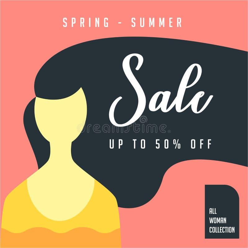 Collezione primavera-estate dei capelli della donna Offerta speciale del manifesto di grande vendita di 50% Progettazione del mod illustrazione di stock