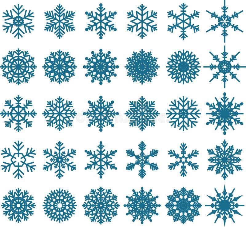 Collezioni blu del fiocco di neve per voi progettazione illustrazione di stock