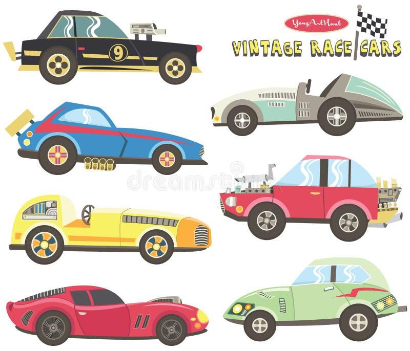 Collezioni d'annata della macchina da corsa royalty illustrazione gratis