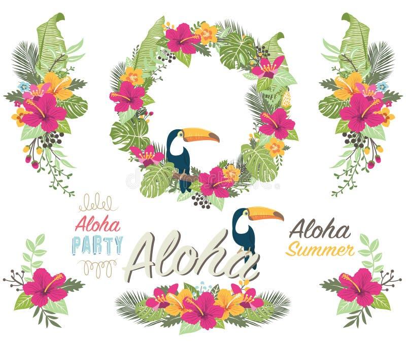 Collezioni del fiore di Tropicana illustrazione di stock