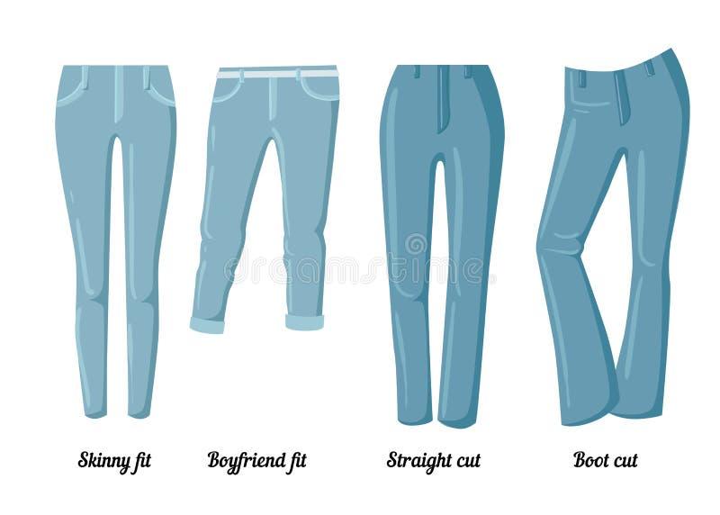Collezioni di abbigliamento, sei stili differenti dei jeans variopinti royalty illustrazione gratis
