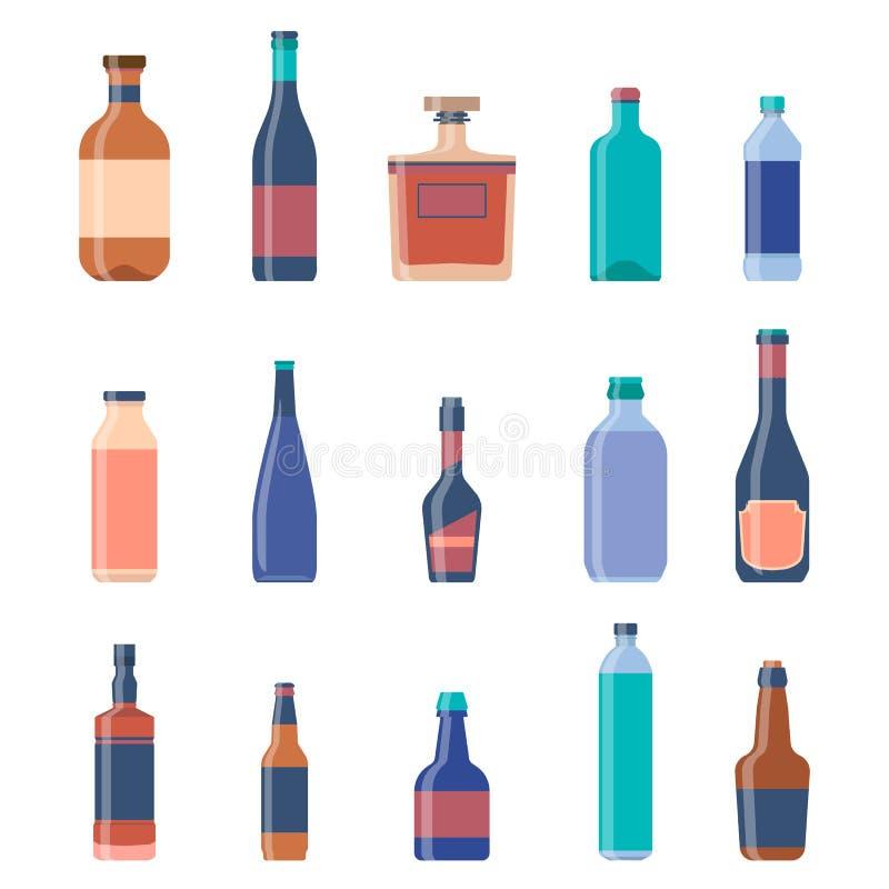 Collezioni di bottiglie differenti Fondo dell'annata della birra Bottiglie del liquore, bevande alcoliche, bottiglia della vodka, illustrazione di stock