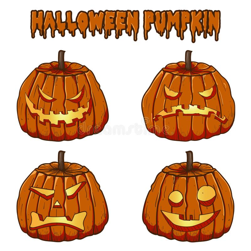 Collezioni di vettore della zucca di Halloween fotografia stock
