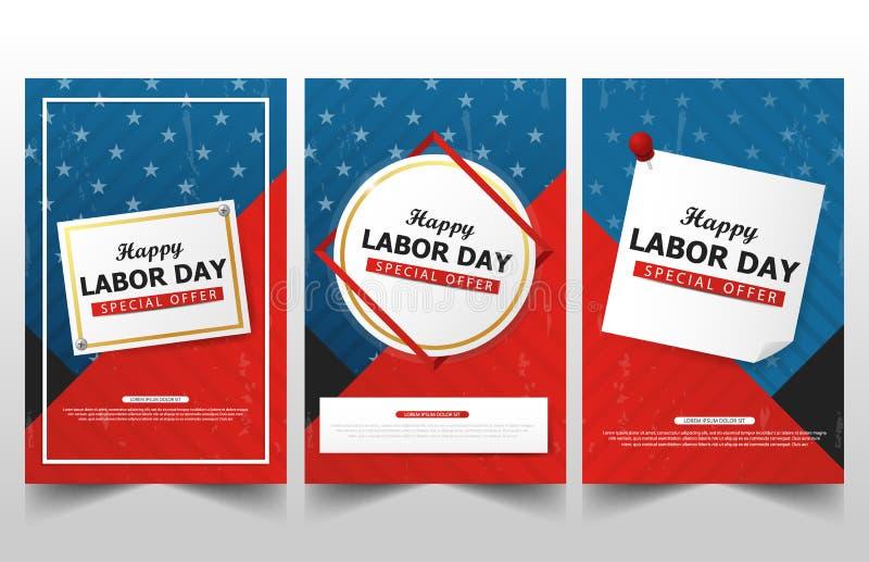 Collezioni felici dell'insegna della bandiera americana di festa del lavoro, flye di festa del lavoro royalty illustrazione gratis