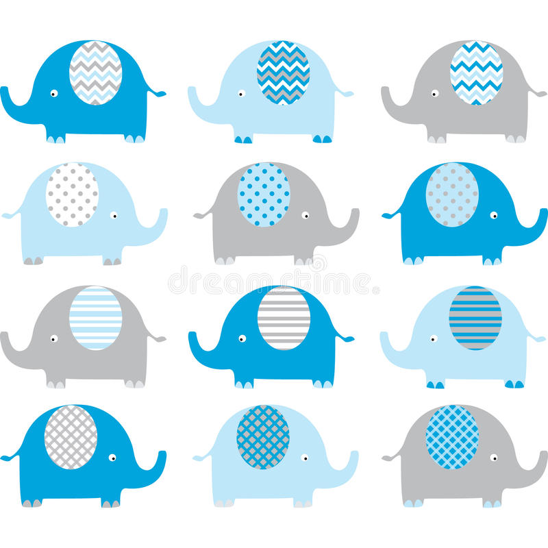 Collezioni sveglie blu dell'elefante illustrazione di stock