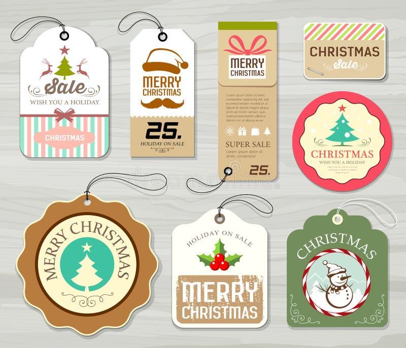 Collezioni variopinte della carta di etichetta di Buon Natale royalty illustrazione gratis