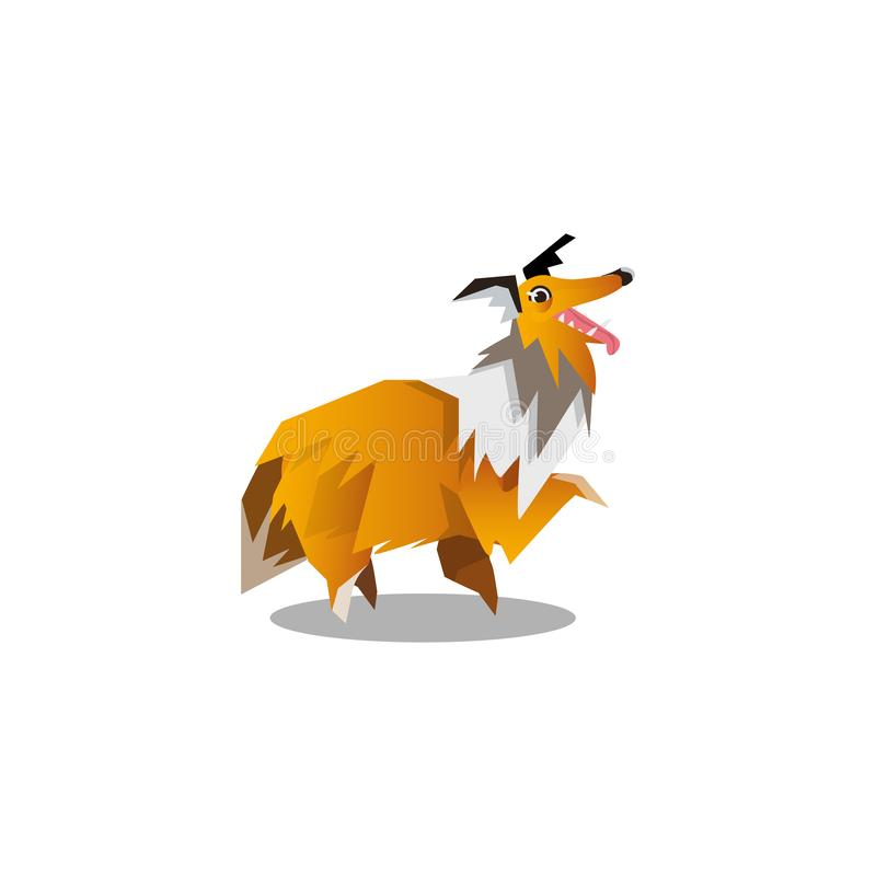Collie dog, Raster illustration in flat cartoon style. Cute friendly walking collie dog in origami style. Funny cartoon dog concept. Isolated raster icon vector illustration