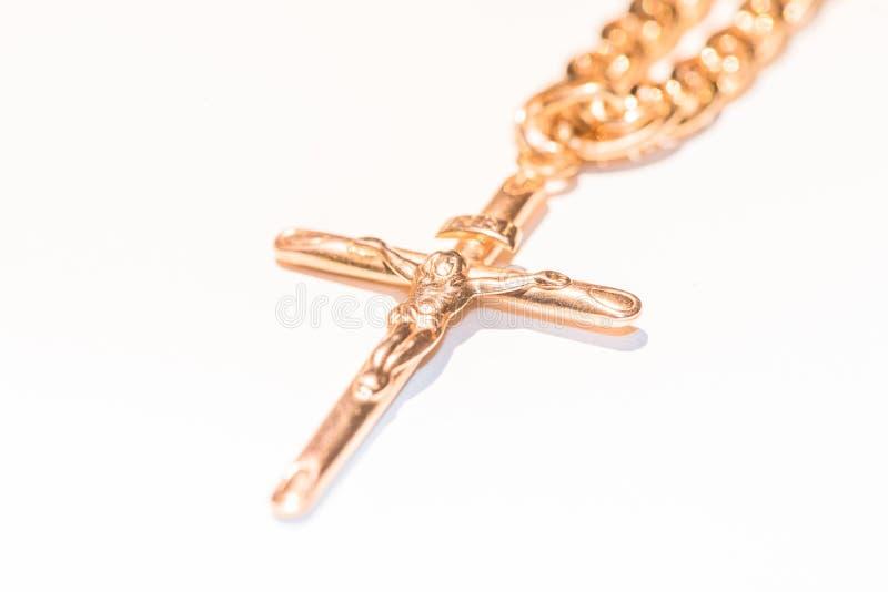Collier avec le crucifix et le Jésus images libres de droits