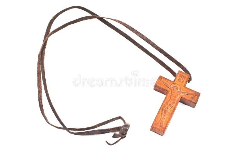 Collier croisé chrétien en bois photographie stock