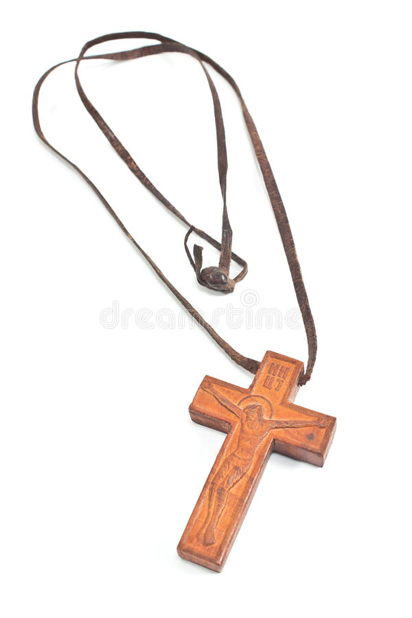 Collier croisé chrétien en bois images libres de droits