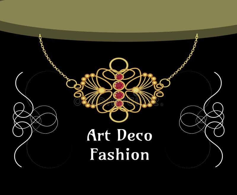 Collier d'art d?co avec le pendant rouge, objet d'isolement sur le fond noir, style d'Art nouveau, mode victorian illustration de vecteur
