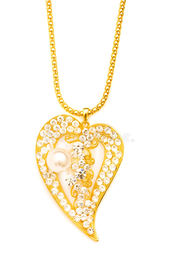 Collier d'or d'isolement photos stock